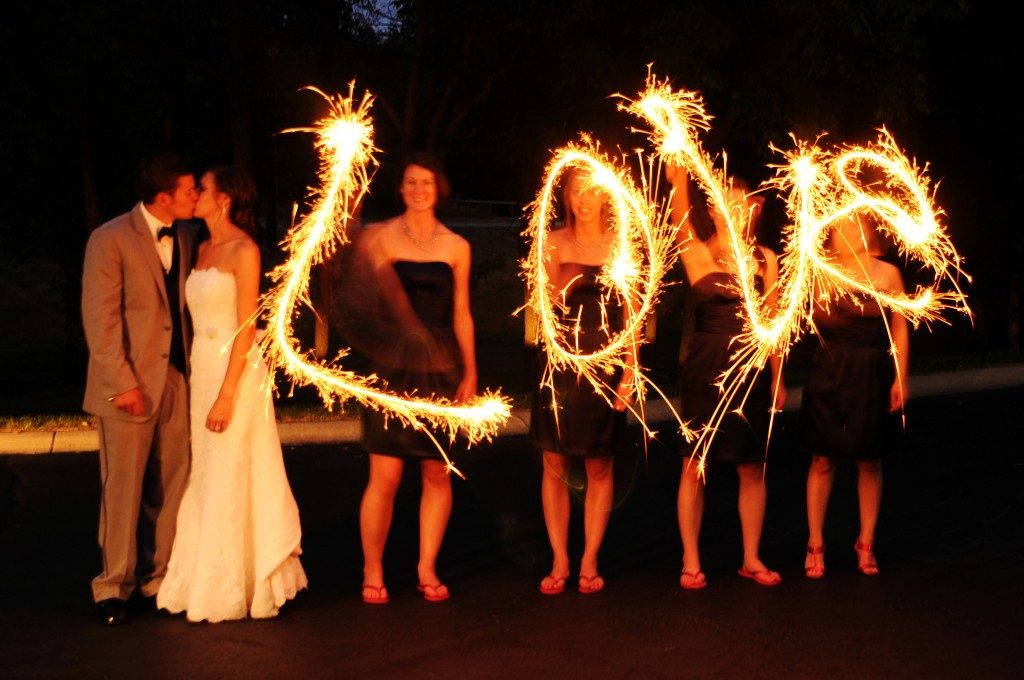 Bridesmaids Spell Love With Sparklers