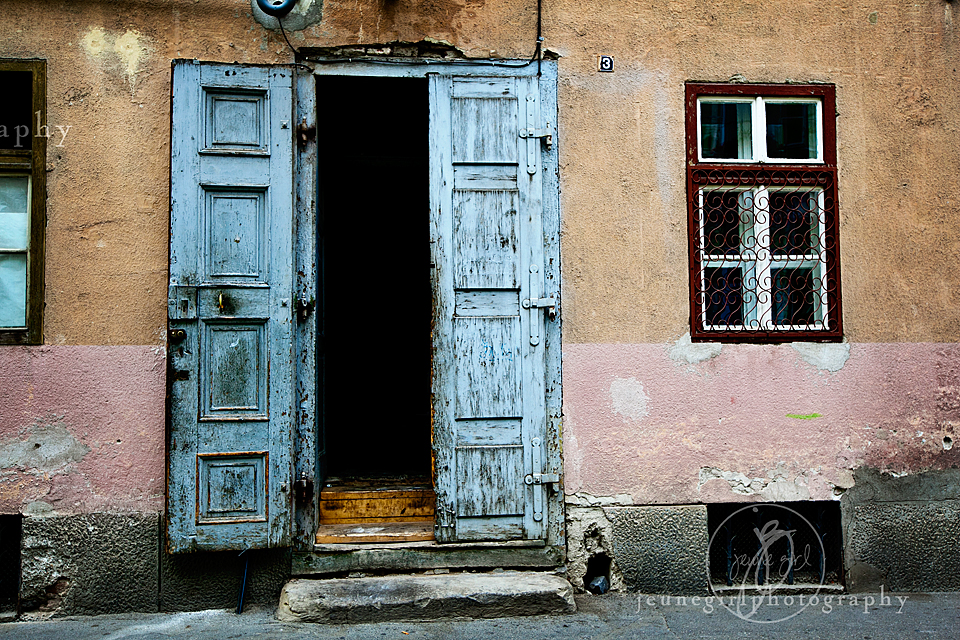Portrait of building with rustic doors by Jeune Girl