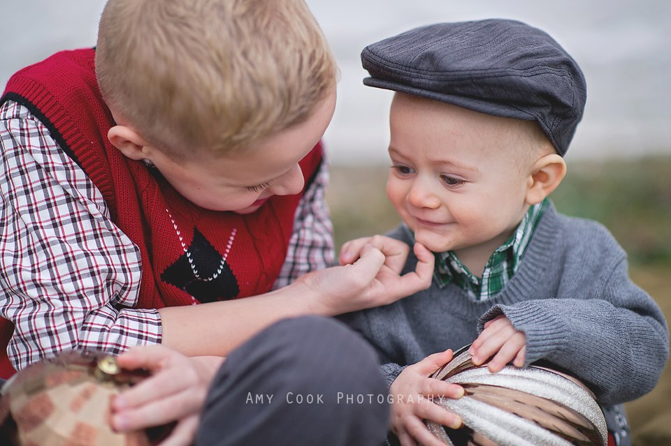 Portrait of brothers playing by Amy Cook Photography