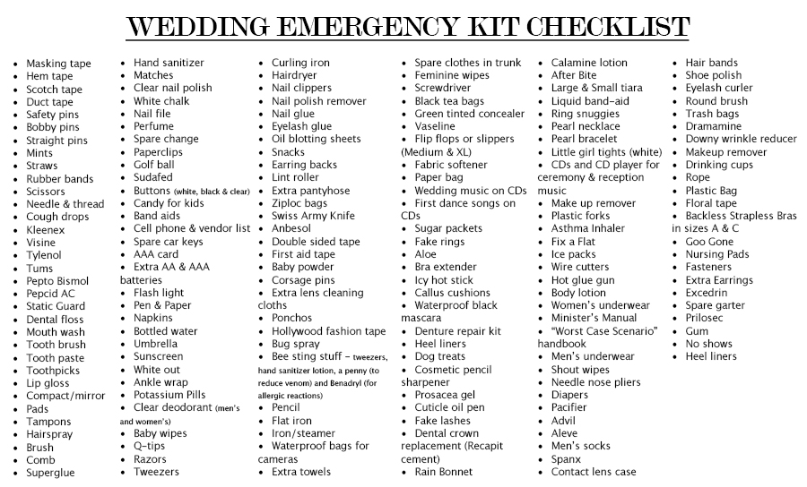Emergency kit for wedding day list